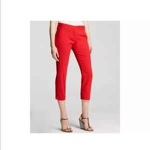 Theory Yanette Crop Pants 00 Red